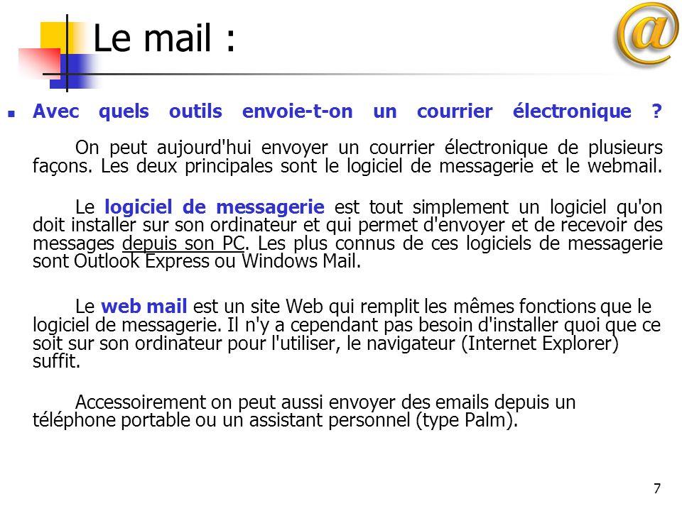 8 Le mail : Comment lire une adresse email: Les adresses de courrier électronique sont de la forme bidochon@nidamour.fr bidochon est le nom du correspondant.