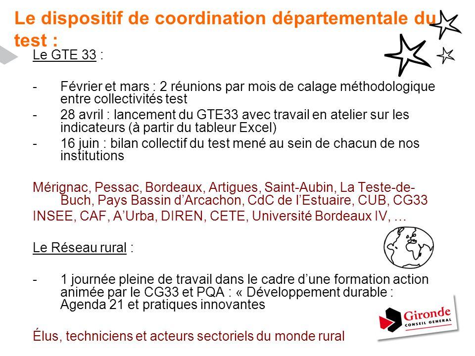 Le dispositif de coordination départementale du test : Le GTE 33 : -Février et mars : 2 réunions par mois de calage méthodologique entre collectivités