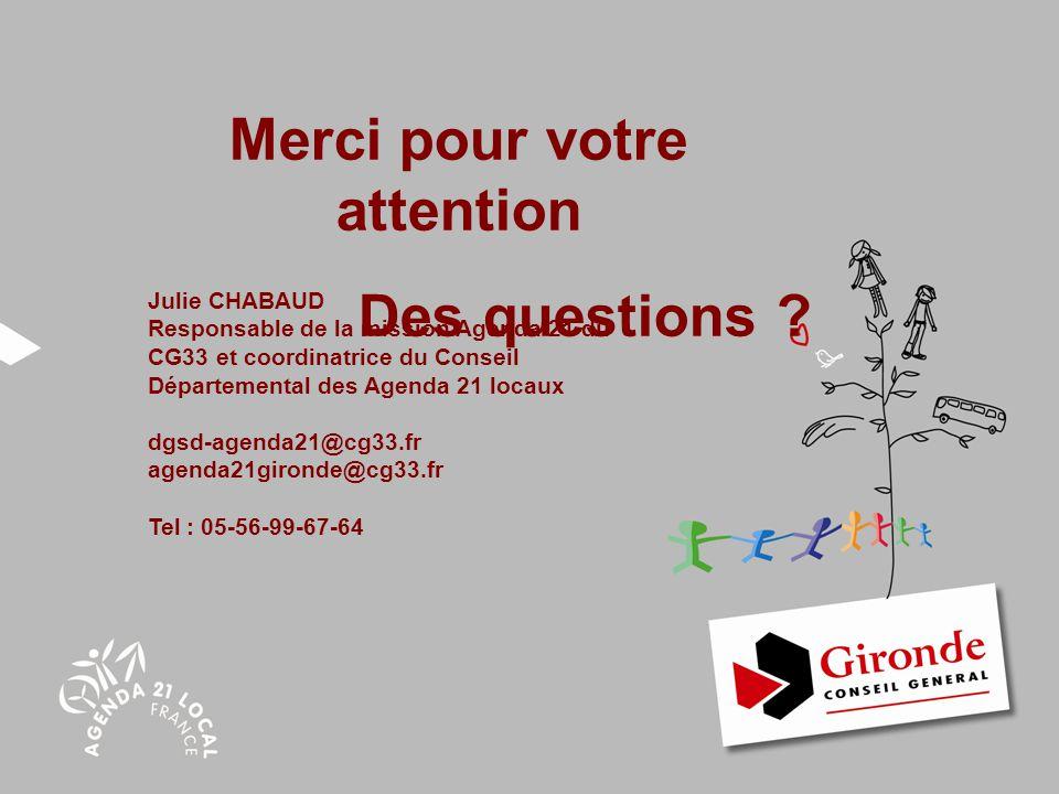 Agenda 21 Merci pour votre attention Des questions ? Julie CHABAUD Responsable de la mission Agenda 21 du CG33 et coordinatrice du Conseil Département