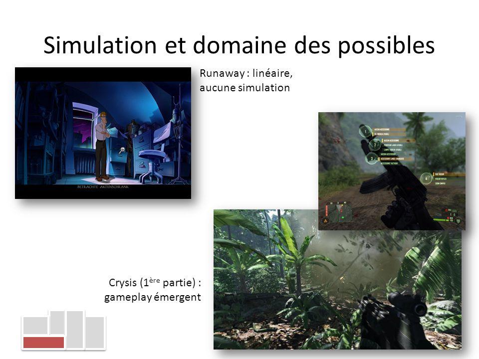 Simulation et domaine des possibles Runaway : linéaire, aucune simulation Crysis (1 ère partie) : gameplay émergent