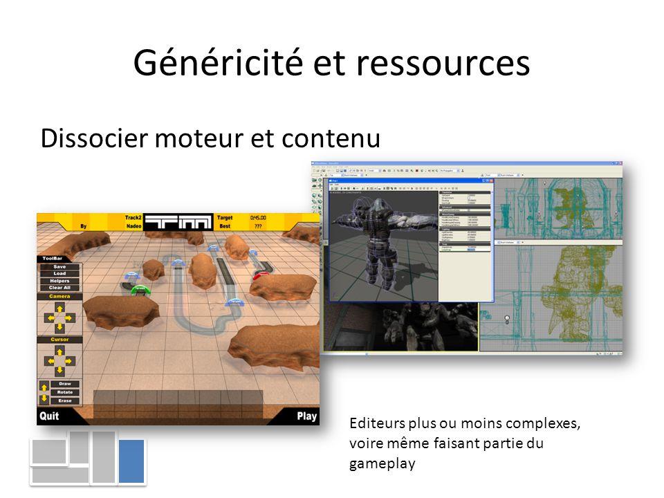 Généricité et ressources Dissocier moteur et contenu Editeurs plus ou moins complexes, voire même faisant partie du gameplay