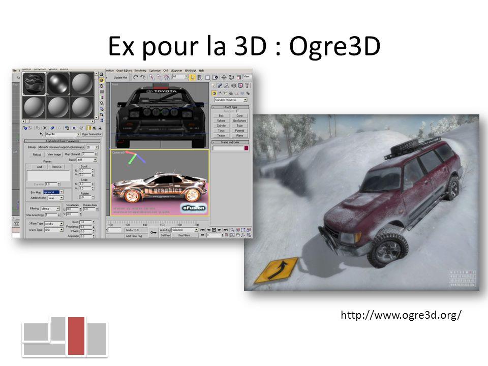 Ex pour la 3D : Ogre3D http://www.ogre3d.org/