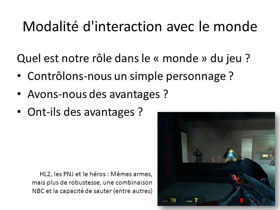 Modalité d'interaction avec le monde Quel est notre rôle dans le « monde » du jeu ? Contrôlons-nous un simple personnage ? Avons-nous des avantages ?