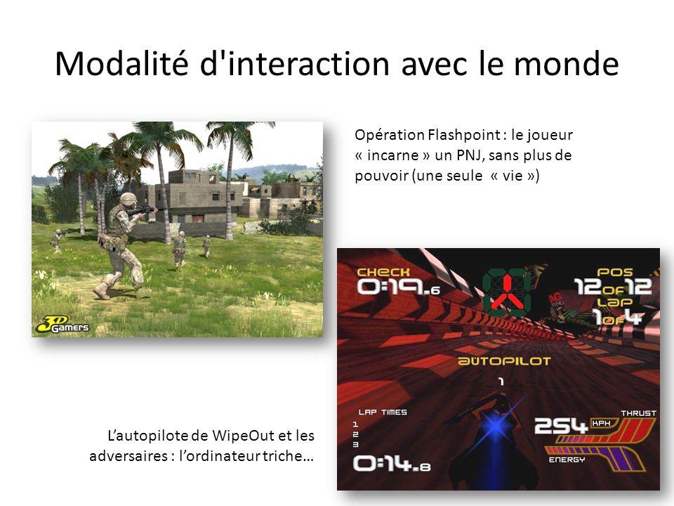 Opération Flashpoint : le joueur « incarne » un PNJ, sans plus de pouvoir (une seule « vie ») L'autopilote de WipeOut et les adversaires : l'ordinateu