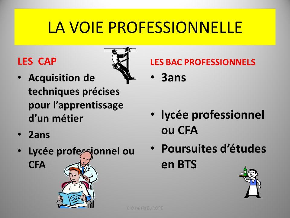 LA VOIE PROFESSIONNELLE LES CAP LES BAC PROFESSIONNELS 3ans lycée professionnel ou CFA Poursuites d'études en BTS Acquisition de techniques précises p