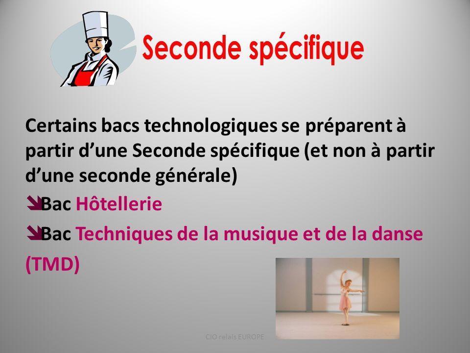 Certains bacs technologiques se préparent à partir d'une Seconde spécifique (et non à partir d'une seconde générale)  Bac Hôtellerie  Bac Techniques