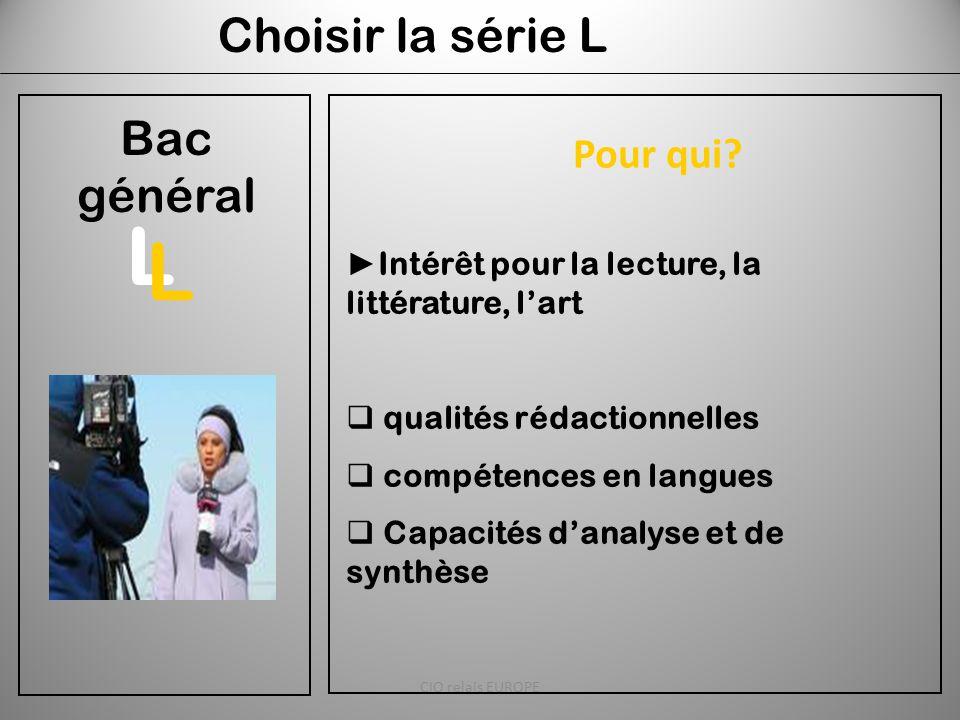 Choisir la série L Bac général ► Intérêt pour la lecture, la littérature, l'art  qualités rédactionnelles  compétences en langues  Capacités d'anal