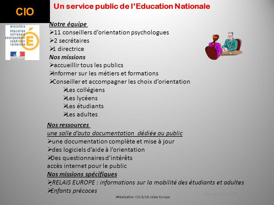 CIO Un service public de l'Education Nationale Notre équipe  11 conseillers d'orientation psychologues  2 secrétaires  1 directrice Nos missions 