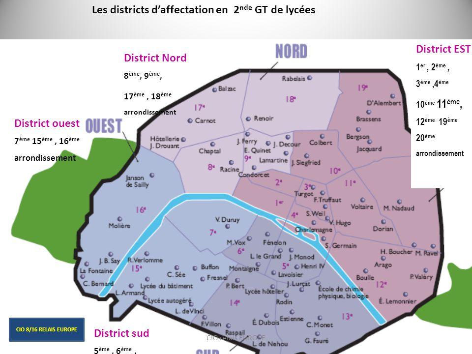 District Nord 8 ème, 9 ème, 17 ème, 18 ème arrondissement District ouest 7 ème 15 ème, 16 ème arrondissement District sud 5 ème, 6 ème, 13 ème, 14 ème