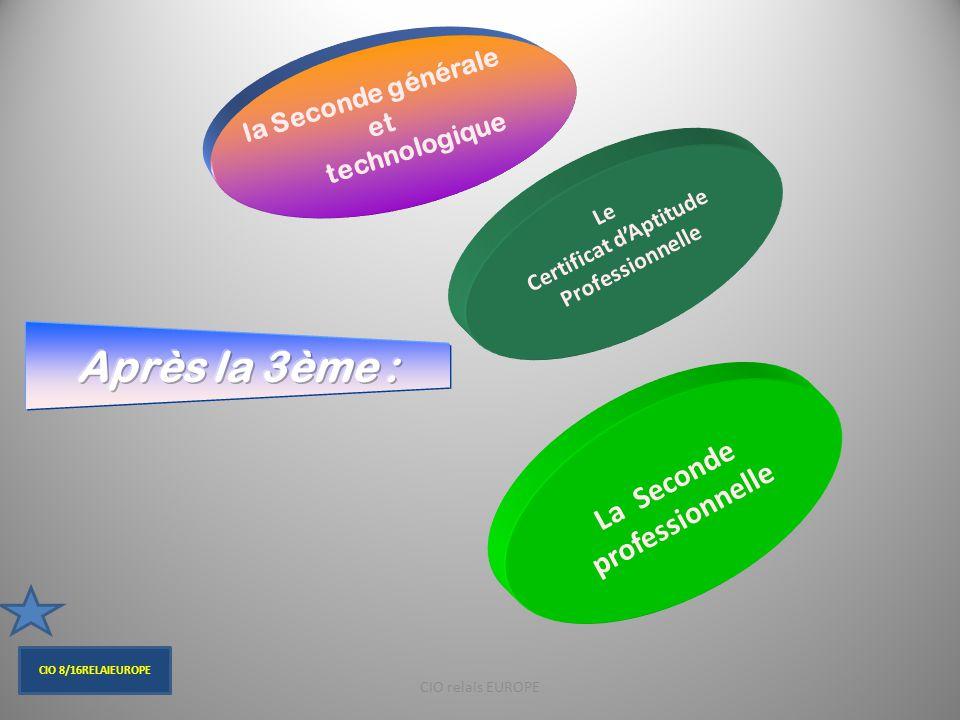 Certains bacs technologiques se préparent à partir d'une Seconde spécifique (et non à partir d'une seconde générale)  Bac Hôtellerie  Bac Techniques de la musique et de la danse (TMD) CIO relais EUROPE