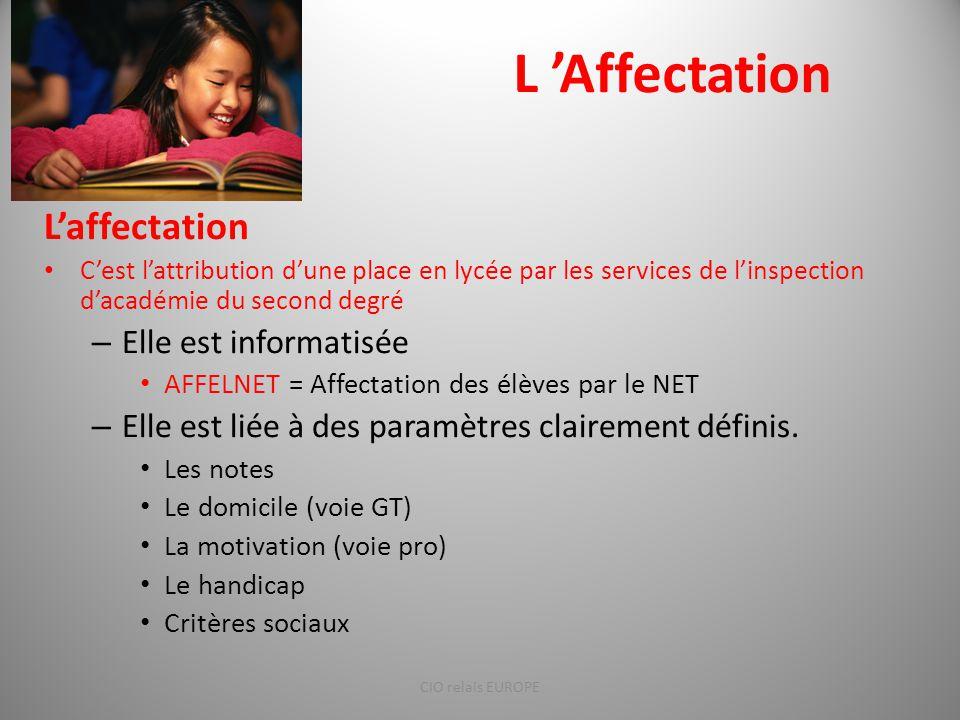 L 'Affectation L'affectation C'est l'attribution d'une place en lycée par les services de l'inspection d'académie du second degré – Elle est informati