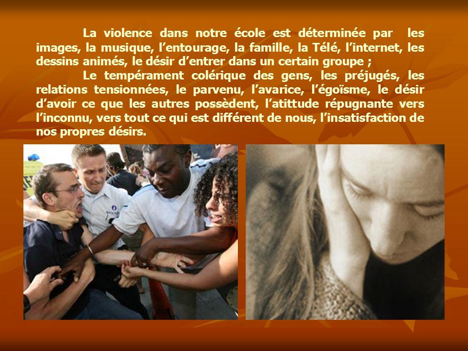 La violence dans notre école est déterminée par les images, la musique, l'entourage, la famille, la Télé, l'internet, les dessins animés, le désir d'e
