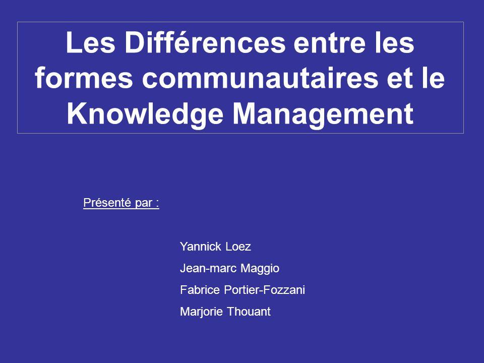 Les Différences entre les formes communautaires et le Knowledge Management Présenté par : Yannick Loez Jean-marc Maggio Fabrice Portier-Fozzani Marjor