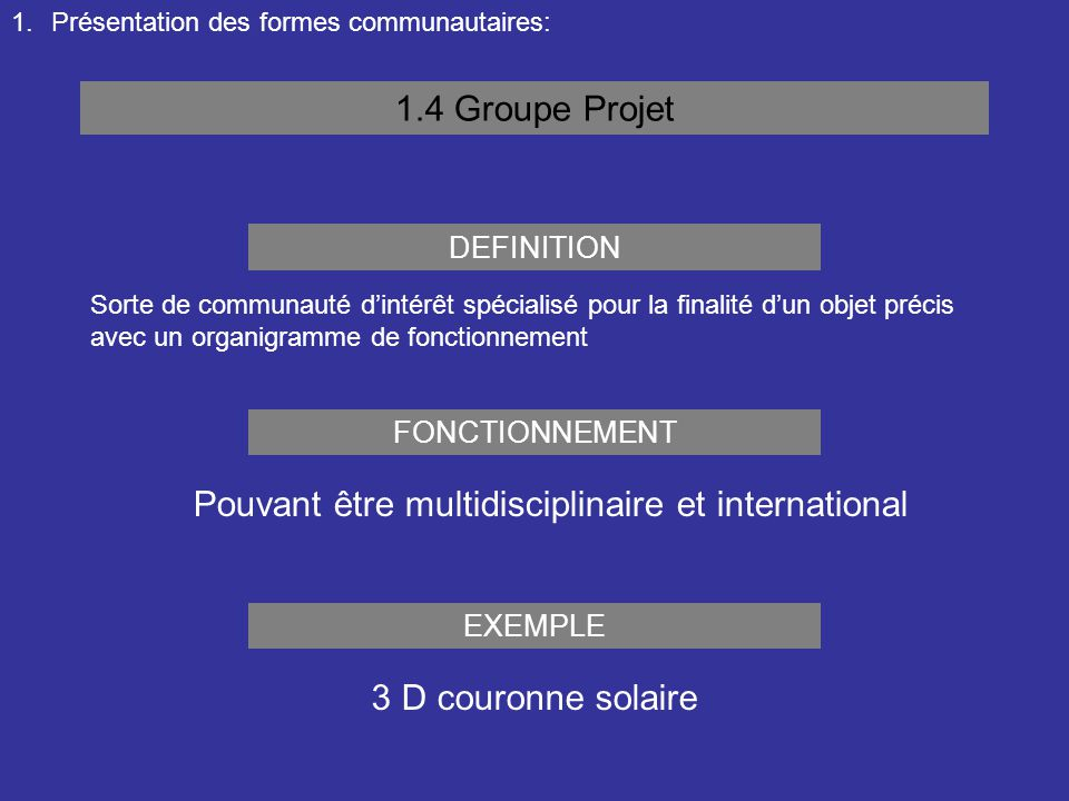 1.Présentation des formes communautaires: 1.4 Groupe Projet Sorte de communauté d'intérêt spécialisé pour la finalité d'un objet précis avec un organi
