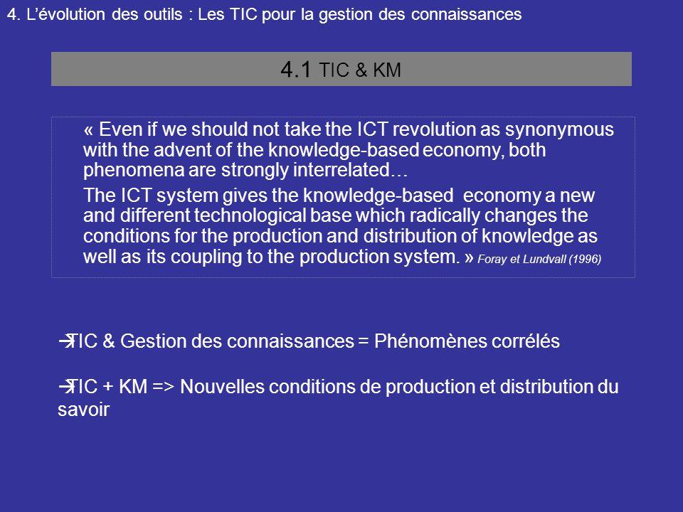 4. L'évolution des outils : Les TIC pour la gestion des connaissances 4.1 TIC & KM « Even if we should not take the ICT revolution as synonymous with