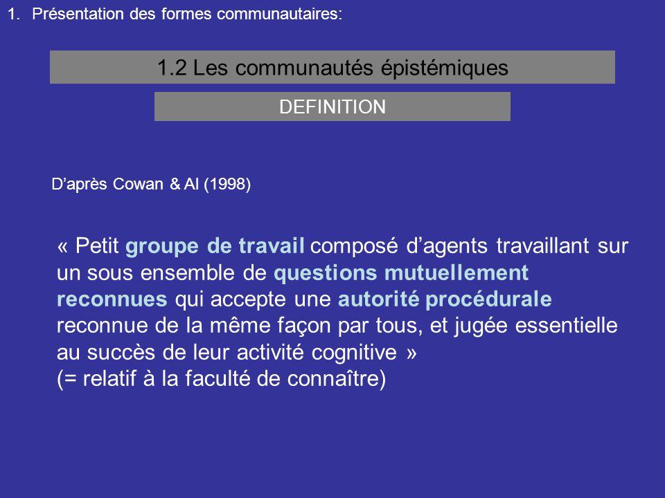 1.Présentation des formes communautaires: 1.2 Les communautés épistémiques « Petit groupe de travail composé d'agents travaillant sur un sous ensemble