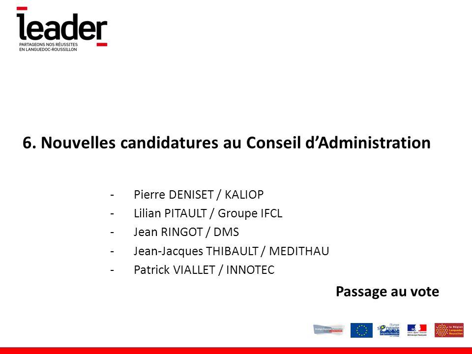 6. Nouvelles candidatures au Conseil d'Administration -Pierre DENISET / KALIOP -Lilian PITAULT / Groupe IFCL -Jean RINGOT / DMS -Jean-Jacques THIBAULT