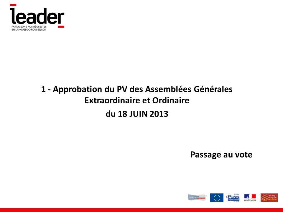 1 - Approbation du PV des Assemblées Générales Extraordinaire et Ordinaire du 18 JUIN 2013 Passage au vote