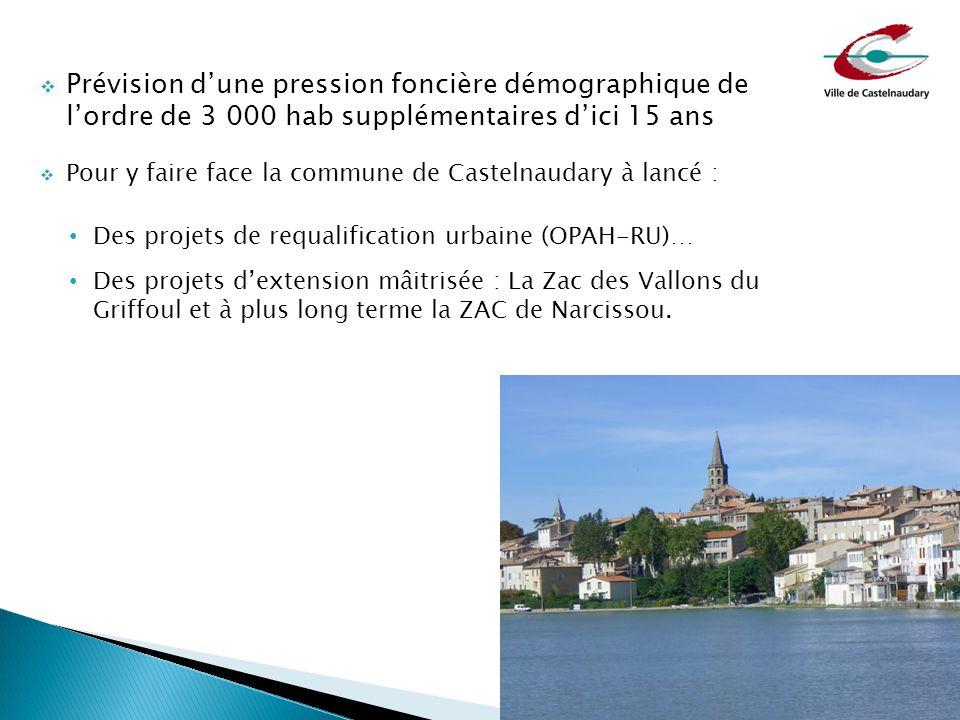  Prévision d'une pression foncière démographique de l'ordre de 3 000 hab supplémentaires d'ici 15 ans  Pour y faire face la commune de Castelnaudary