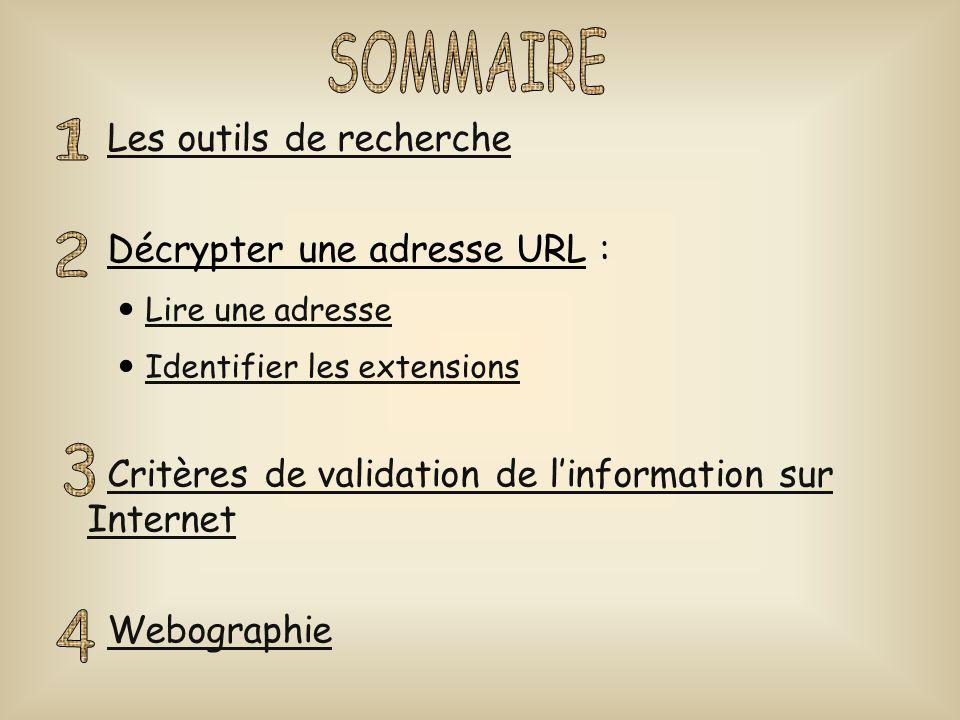 Les outils de recherche Décrypter une adresse URL : Lire une adresse Identifier les extensions Critères de validation de l'information sur InternetCri