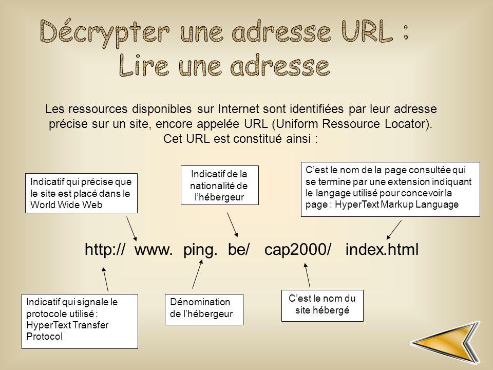 Indicatif qui signale le protocole utilisé : HyperText Transfer Protocol Indicatif qui précise que le site est placé dans le World Wide Web Dénominati