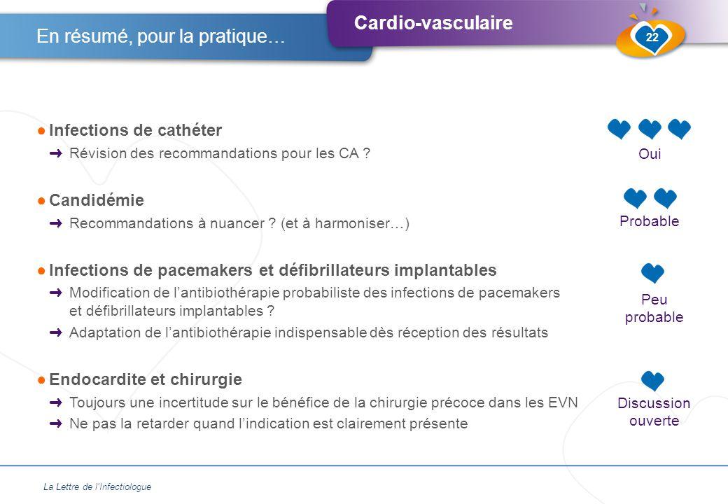 Cardio-vasculaire ●Infections de cathéter ➜ Révision des recommandations pour les CA .