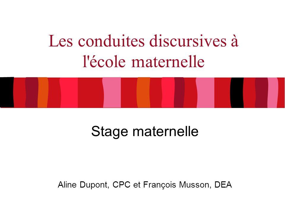 Les conduites discursives à l'école maternelle Stage maternelle Aline Dupont, CPC et François Musson, DEA