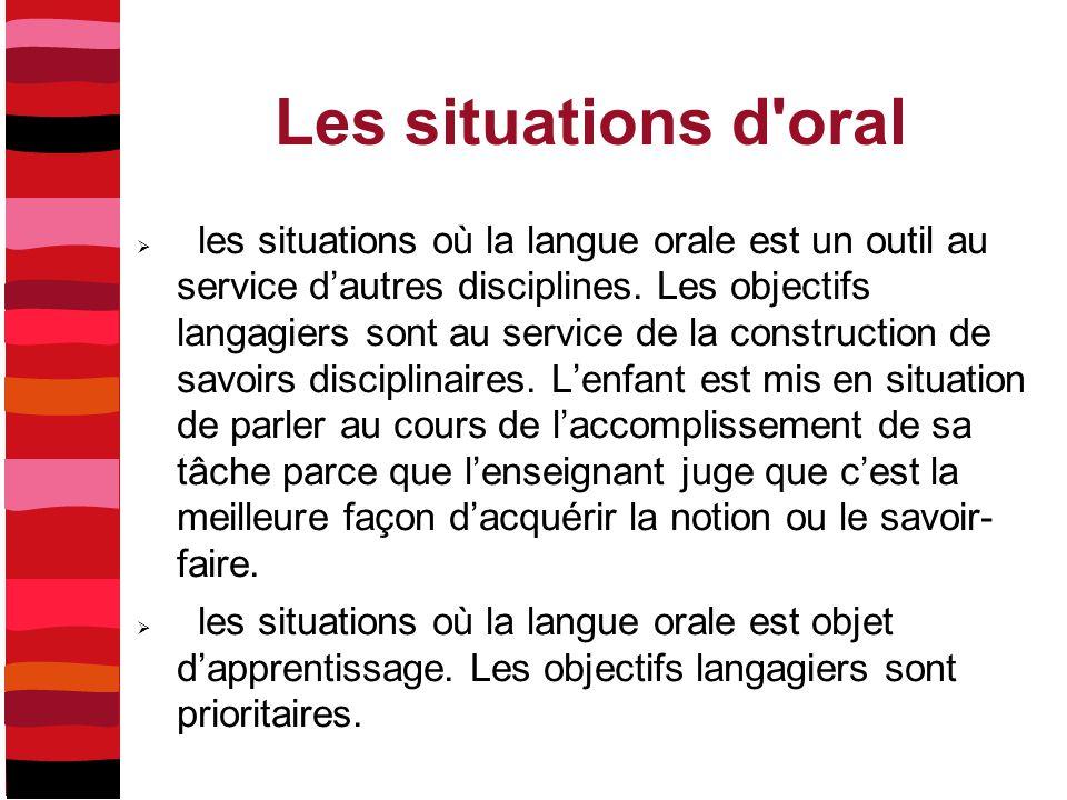 Les situations d'oral  les situations où la langue orale est un outil au service d'autres disciplines. Les objectifs langagiers sont au service de la