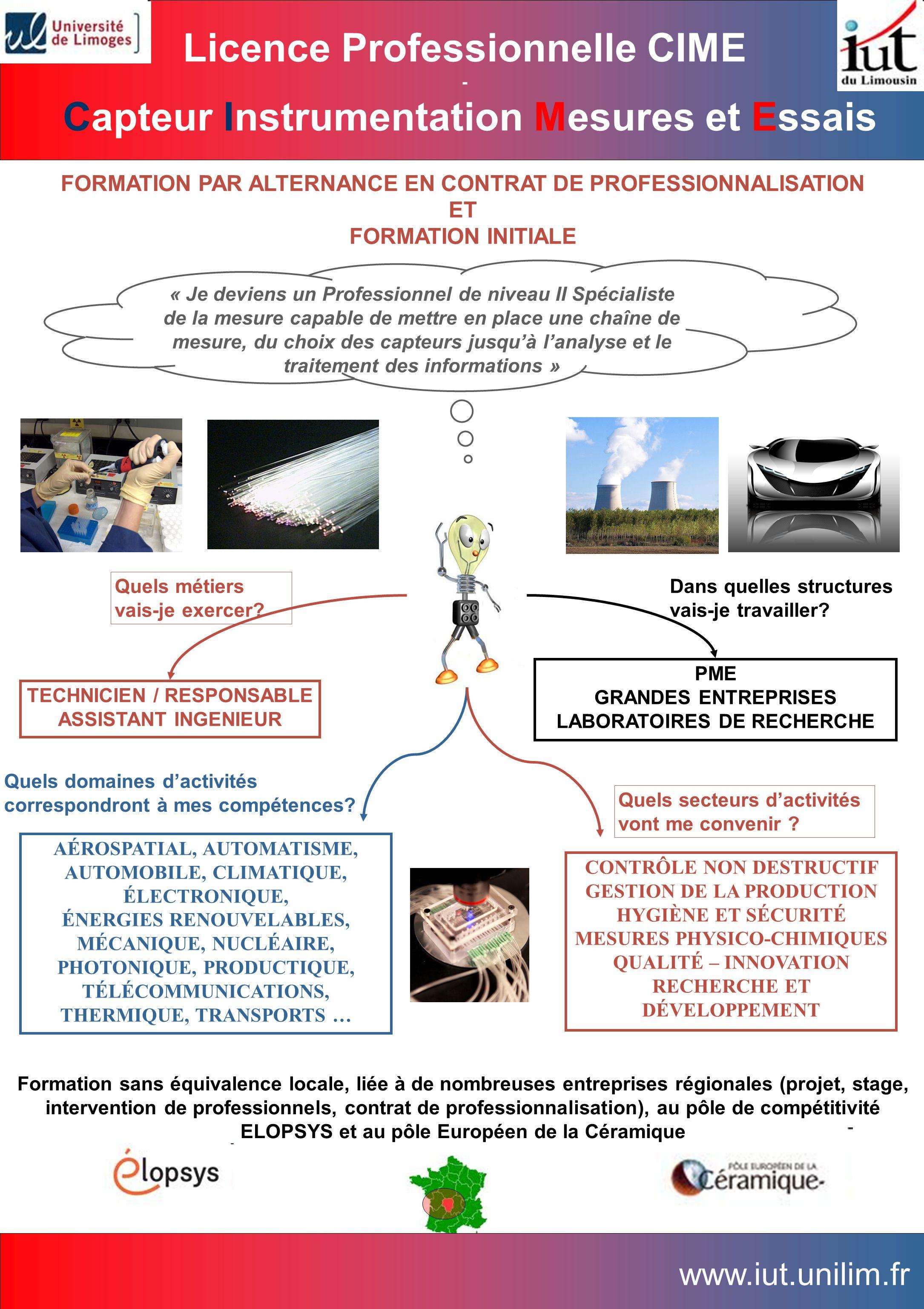 FORMATION PAR ALTERNANCE EN CONTRAT DE PROFESSIONNALISATION ET FORMATION INITIALE « Je deviens un Professionnel de niveau II Spécialiste de la mesure