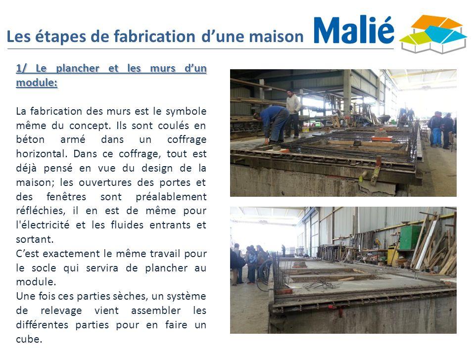 Les étapes de fabrication d'une maison 1/ Le plancher et les murs d'un module: La fabrication des murs est le symbole même du concept. Ils sont coulés