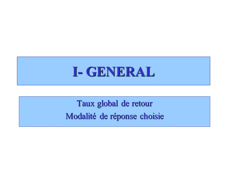 I- GENERAL Taux global de retour Modalité de réponse choisie