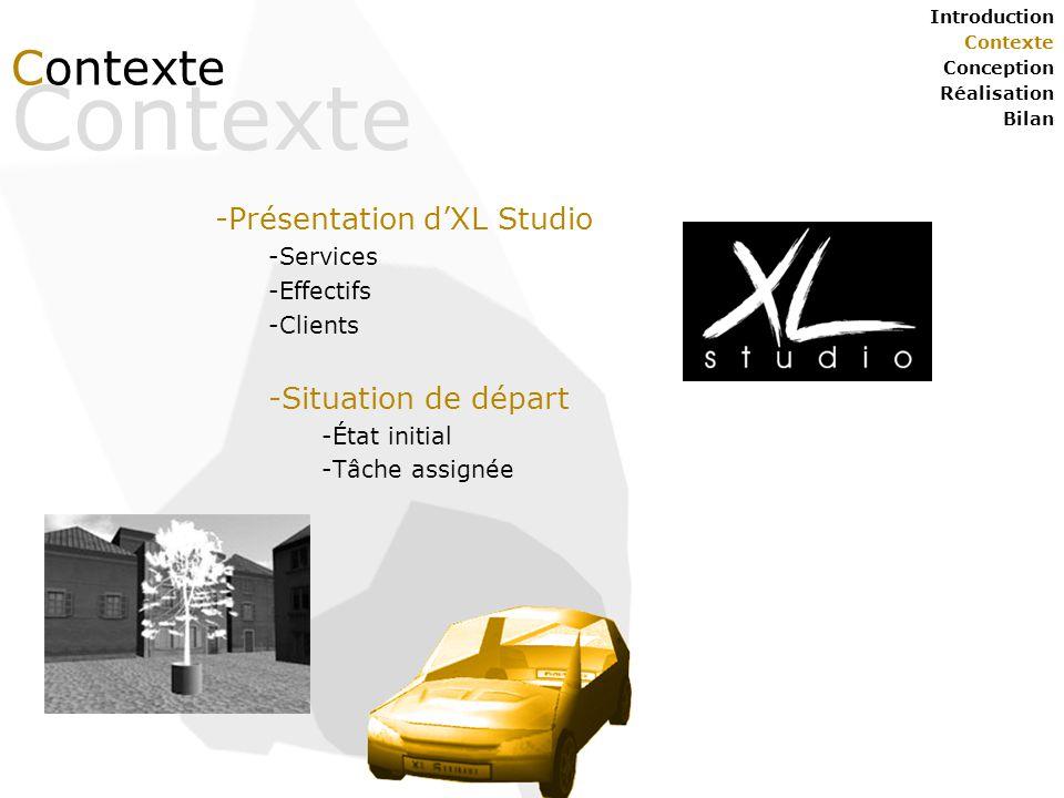 Contexte Introduction Contexte Conception Réalisation Bilan Contexte -Présentation d'XL Studio -Services -Effectifs -Clients -Situation de départ -État initial -Tâche assignée Jérôme FAISSAT – DESS IM 2004