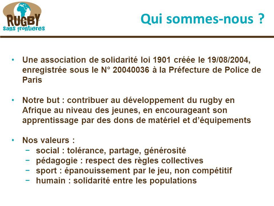 Nos soutiens La Fédération Française de Rugby L'International Rugby Board La Confédération Africaine de Rugby (CAR) Yannick NYANGA (3 ème ligne du Stade Toulousain), originaire du Congo Brazzaville Les dons de clubs en très grande majorité L'ESC Rouen et le Top Eight 2009