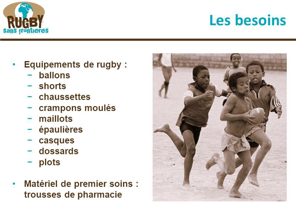 Les besoins Equipements de rugby : −ballons −shorts −chaussettes −crampons moulés −maillots −épaulières −casques −dossards −plots Matériel de premier soins : trousses de pharmacie