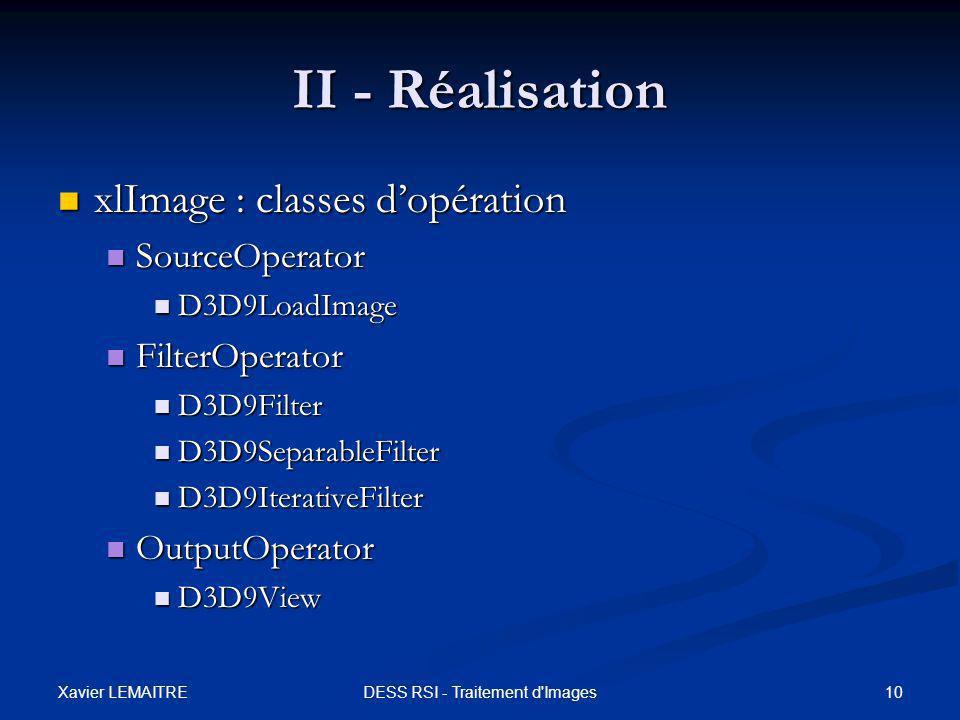 Xavier LEMAITRE 10DESS RSI - Traitement d'Images II - Réalisation xlImage : classes d'opération xlImage : classes d'opération SourceOperator SourceOpe