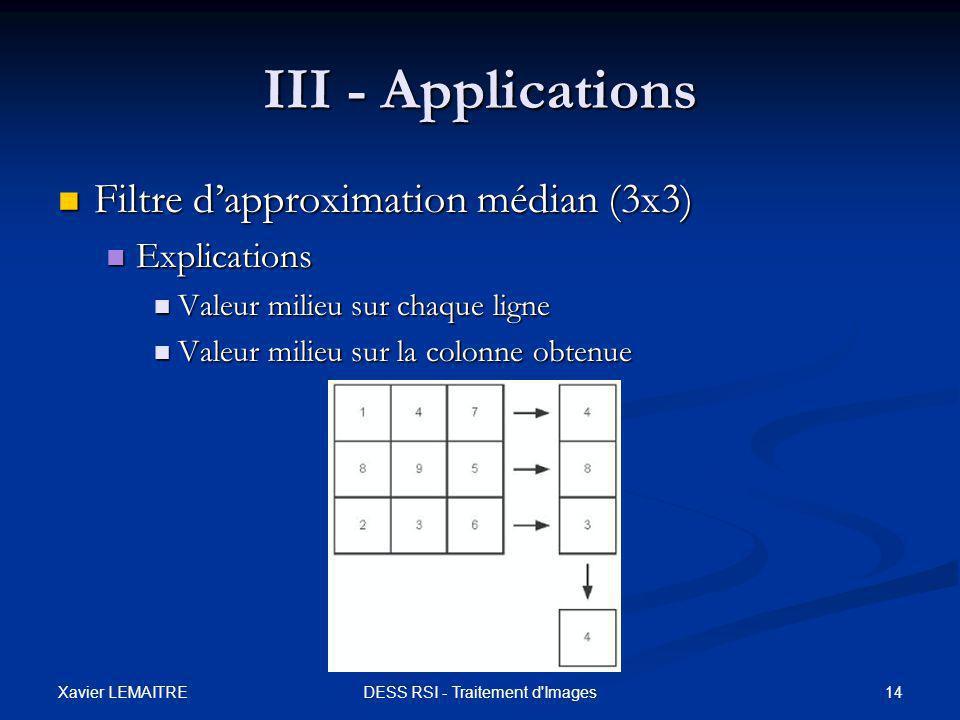 Xavier LEMAITRE 14DESS RSI - Traitement d'Images III - Applications Filtre d'approximation médian (3x3) Filtre d'approximation médian (3x3) Explicatio