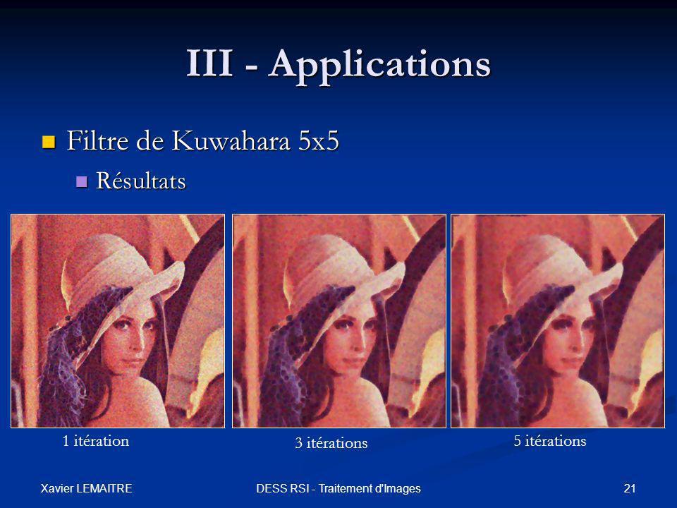Xavier LEMAITRE 21DESS RSI - Traitement d'Images III - Applications Filtre de Kuwahara 5x5 Filtre de Kuwahara 5x5 Résultats Résultats 1 itération 3 it