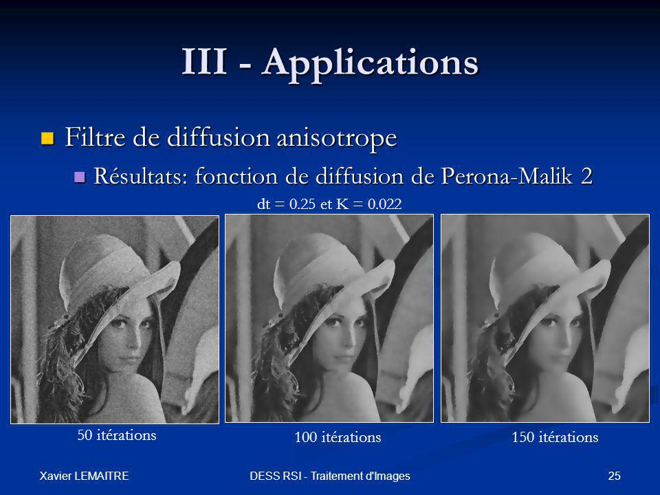 Xavier LEMAITRE 25DESS RSI - Traitement d'Images III - Applications Filtre de diffusion anisotrope Filtre de diffusion anisotrope Résultats: fonction