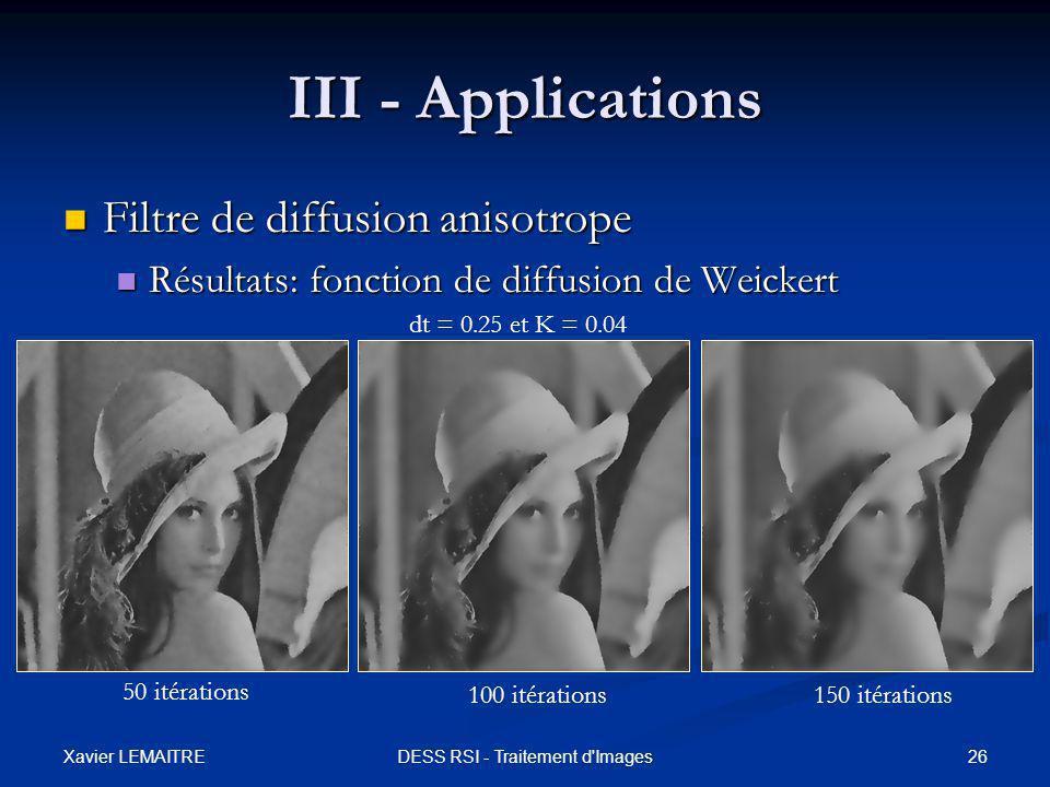 Xavier LEMAITRE 26DESS RSI - Traitement d'Images III - Applications Filtre de diffusion anisotrope Filtre de diffusion anisotrope Résultats: fonction