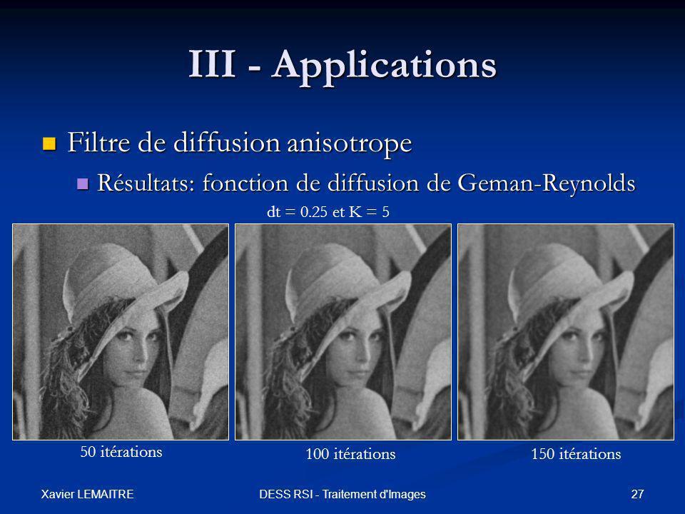 Xavier LEMAITRE 27DESS RSI - Traitement d'Images III - Applications Filtre de diffusion anisotrope Filtre de diffusion anisotrope Résultats: fonction