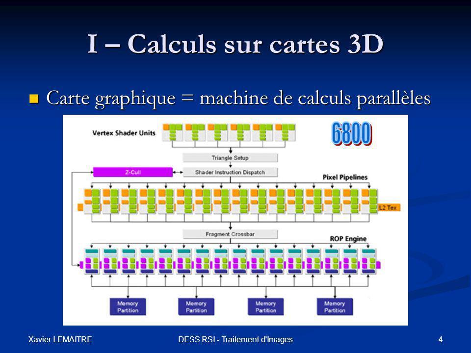 Xavier LEMAITRE 15DESS RSI - Traitement d Images III - Applications Filtre d'approximation médian Filtre d'approximation médian Algorithme : 1 ère passe Algorithme : 1 ère passe Pass1Median () Debut Si Pixel ( x-1 ) < Pixel ( x ) Si Pixel ( x-1 ) < Pixel ( x ) Alors Alors Si Pixel ( x ) < Pixel ( x+1 ) Si Pixel ( x ) < Pixel ( x+1 ) Retourner Pixel ( x ) ; Retourner Pixel ( x ) ; Sinon Sinon Retourner max ( Pixel ( x-1 ), Pixel ( x+1 ) ) ; Retourner max ( Pixel ( x-1 ), Pixel ( x+1 ) ) ; FinSi FinSi Sinon Sinon Si Pixel ( x-1 ) < Pixel ( x+1 ) Si Pixel ( x-1 ) < Pixel ( x+1 ) Retourner Pixel ( x-1 ) ; Retourner Pixel ( x-1 ) ; Sinon Sinon Retourner max ( Pixel ( x ), Pixel ( x+1 ) ) ; Retourner max ( Pixel ( x ), Pixel ( x+1 ) ) ; FinSi FinSi Fin