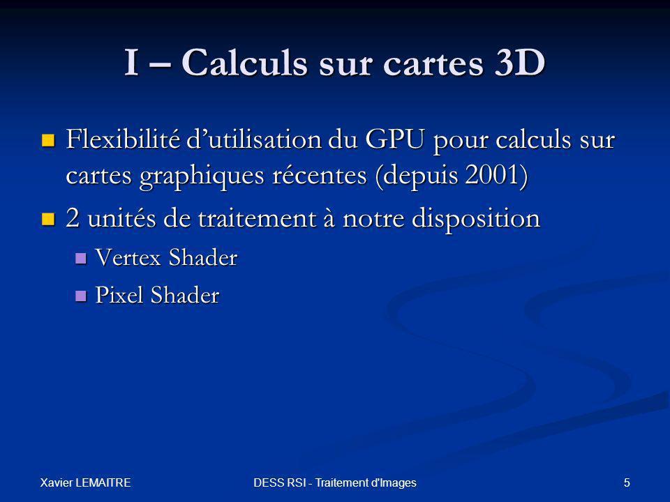 Xavier LEMAITRE 6DESS RSI - Traitement d Images I – Calculs sur cartes 3D Pour traitement d'images: Pour traitement d'images: Utilisation du Pixel Shader Utilisation du Pixel Shader Figure - Les unités de traitement avec leur paramètres d'entrée TEXTURE