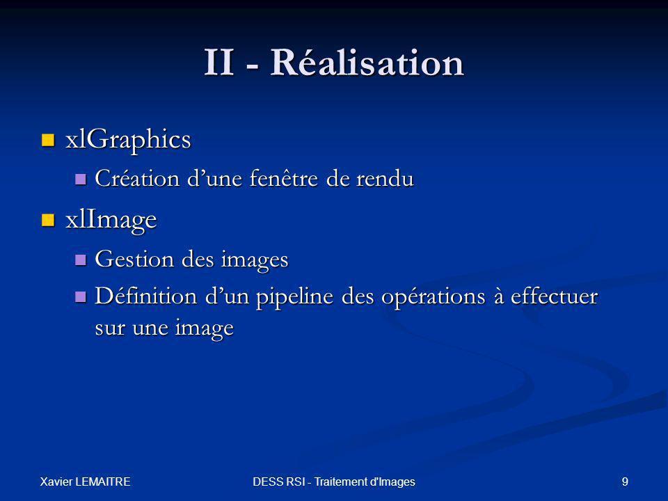 Xavier LEMAITRE 9DESS RSI - Traitement d'Images II - Réalisation xlGraphics xlGraphics Création d'une fenêtre de rendu Création d'une fenêtre de rendu