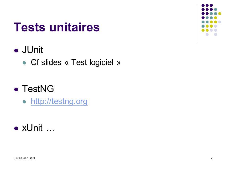 (C) Xavier Baril3 Analyse (statique) du code Règles de codage CheckStyle – http://checkstyle.sourceforge.nethttp://checkstyle.sourceforge.net Détection de bug FindBugs - http://findbugs.sourceforge.nethttp://findbugs.sourceforge.net