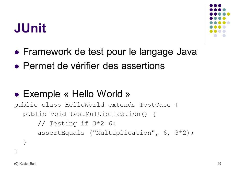 (C) Xavier Baril10 JUnit Framework de test pour le langage Java Permet de vérifier des assertions Exemple « Hello World » public class HelloWorld exte