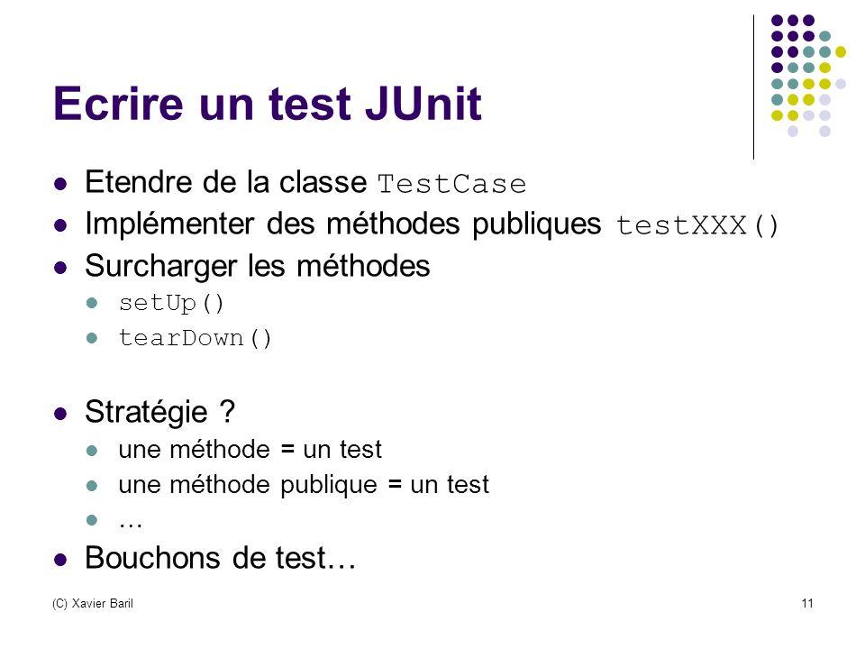 (C) Xavier Baril11 Ecrire un test JUnit Etendre de la classe TestCase Implémenter des méthodes publiques testXXX() Surcharger les méthodes setUp() tea