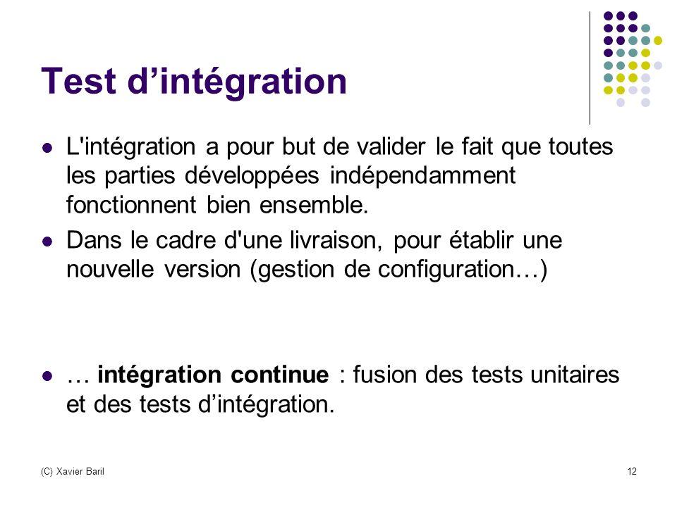 (C) Xavier Baril12 Test d'intégration L'intégration a pour but de valider le fait que toutes les parties développées indépendamment fonctionnent bien