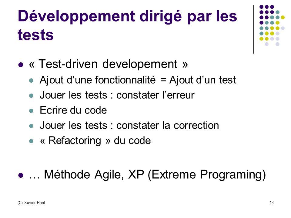 (C) Xavier Baril13 Développement dirigé par les tests « Test-driven developement » Ajout d'une fonctionnalité = Ajout d'un test Jouer les tests : cons