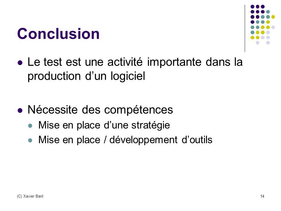 (C) Xavier Baril14 Conclusion Le test est une activité importante dans la production d'un logiciel Nécessite des compétences Mise en place d'une strat