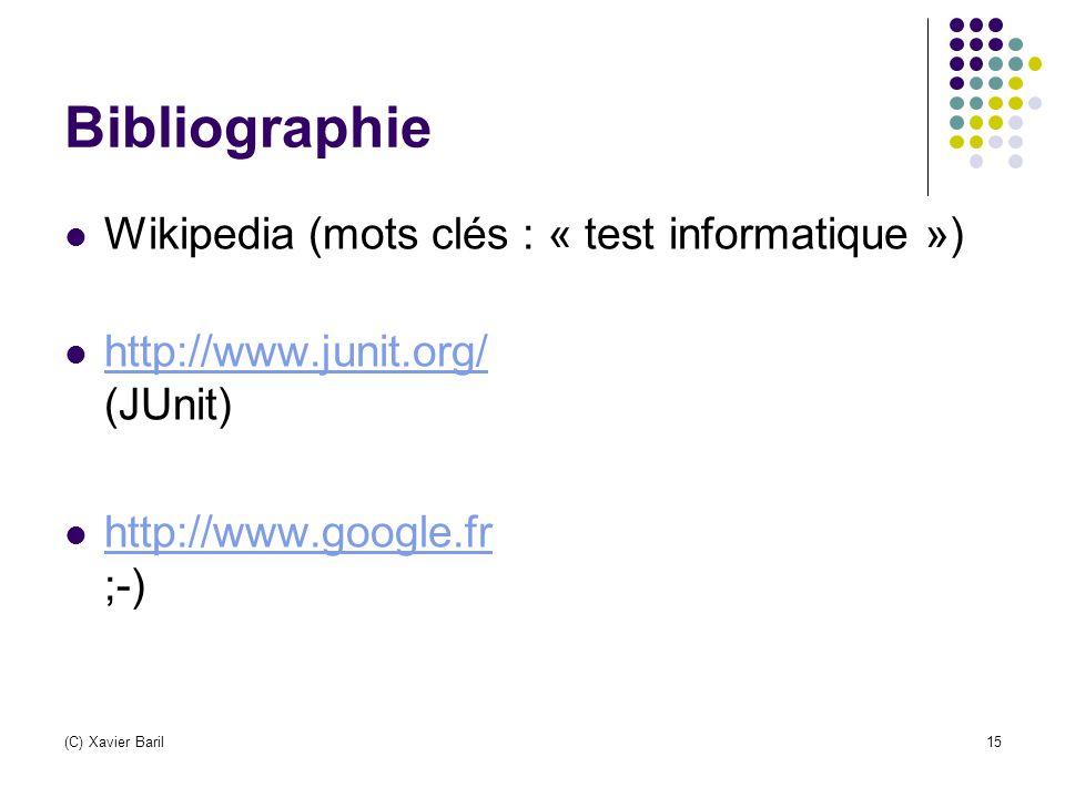 (C) Xavier Baril15 Bibliographie Wikipedia (mots clés : « test informatique ») http://www.junit.org/ (JUnit) http://www.junit.org/ http://www.google.f